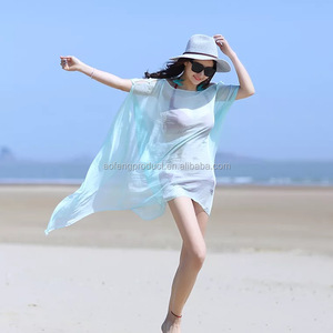 Wholesale fashion summer poncho beach wear cover up, lady multifunctional beach pareo sarong with 24 colors
