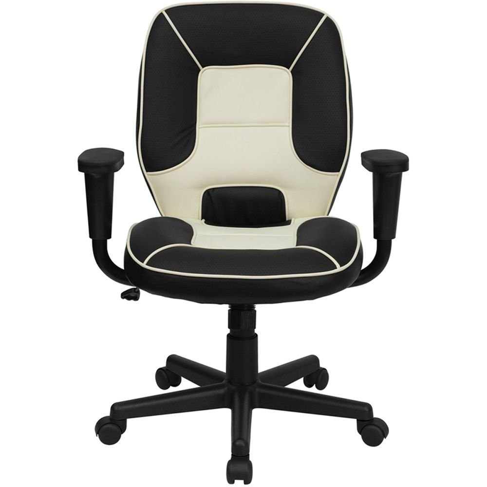 "Elmwood Vinyl Two-Tone Mid-Back Task Chair Dimensions: 27""W x 20""D x 36.50-41.25""H Black & White Vinyl Seat & Back/Black Nylon Base"