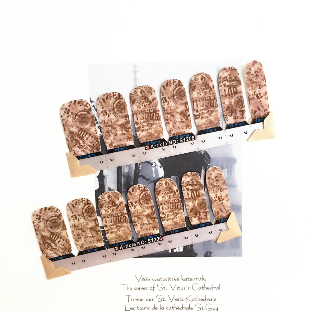 Vintage Coffee Stamps Nail Arts Stickers 14 pcs set Full Tape Patch Waterproof Foils Decals Polish