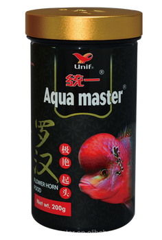 Aqua master, Flower Horn Fish Food, Forehead Plumped, High Protein & Astaxanthin - 200g (M)