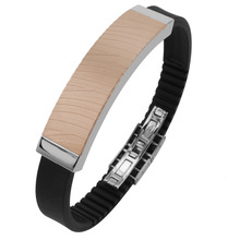 Men's 316L Stainless Steel IP Rose Gold Zebra Texture Bracelet