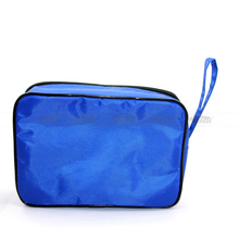 Large electronic cigarette blue canvas zipper case carrying e-cigs and efest batteries