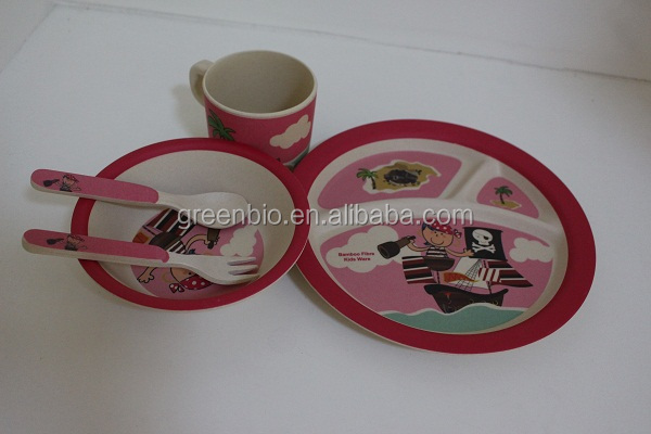 sailing girl design eco-friendly bamboo fibre kids frog shaped dinner set, kids bowl, plate,spoon, fork,cup dinner set