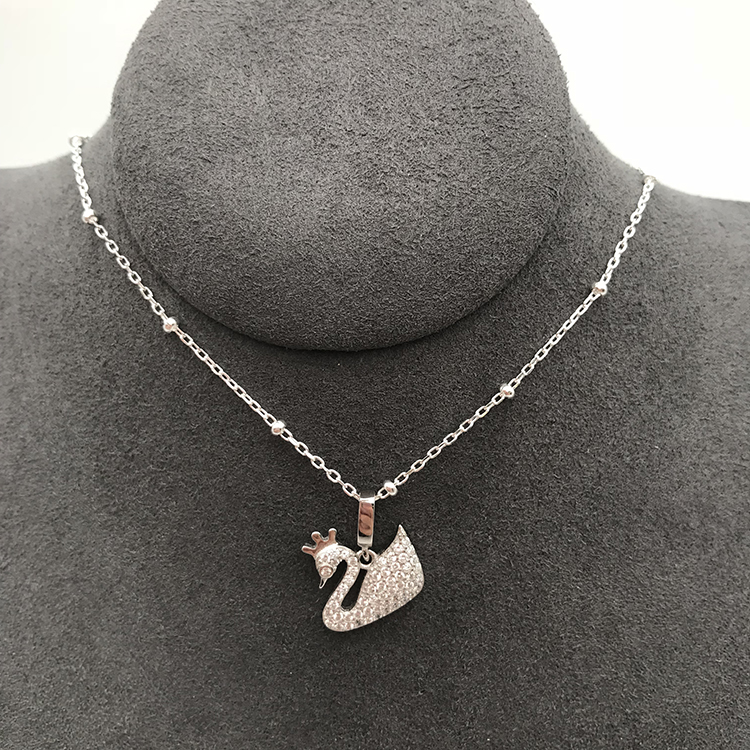 Swan Charm Sterling Silver, White Gold Swan Pendant Necklace, Diamond Swan Necklace Set
