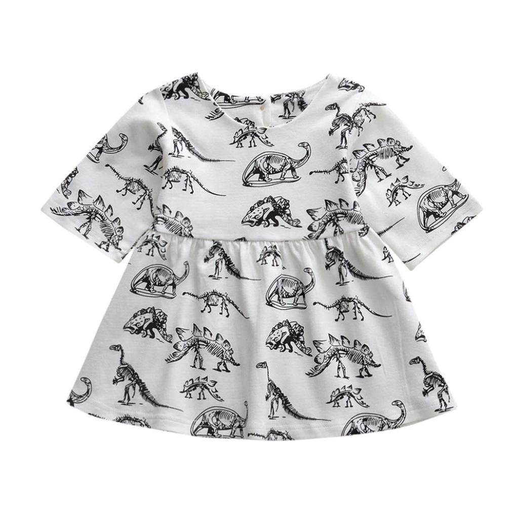 3f9f7f525 Elevin(TM) Toddle Tutu Skirt Kid Baby Girl Long Sleeve Dinosaur Print Lace  Dresses