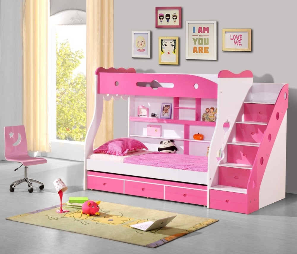 pink white loft beds for stairs | Rose Red Pink Double Bunk Bed With Ladder Staircase - Buy ...