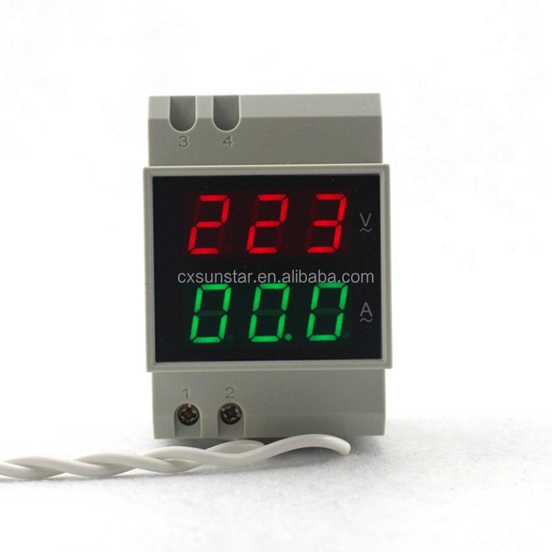 Digital Meter Din-Rail Dual LED  Ammeter Current Meter AC200-450V 0-99 MT