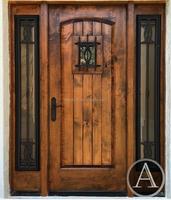 grain patterns solid wood door iron grill