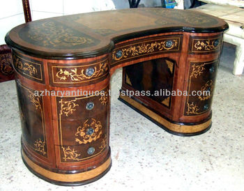Louis Xv Style Kidney Shape 9 Drawers Marquetry Desk