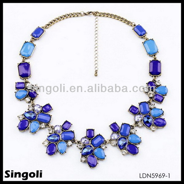 china manufacturer alibaba express fashion accessory royal blue necklaces