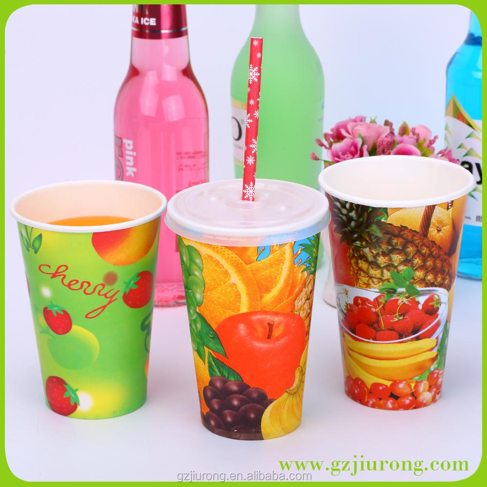 Glass juice cups design - 12oz 16oz Fresh Fruit Paper Juice Cup