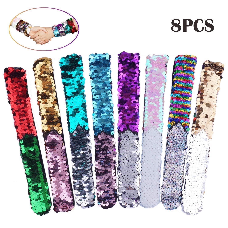 Get Quotations Slap Bracelets 8 Pack Magic Reversible Charm Sequin Bracelet 2 Color Velvet Flip Wristband