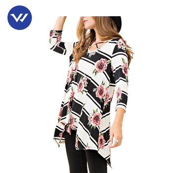 Precise design womens blouse designs floral tunic