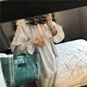 New Fashion Korea Style Summer Clear PVC Shoulder Bag Nylon Transparent Clutch Tote Bag for women