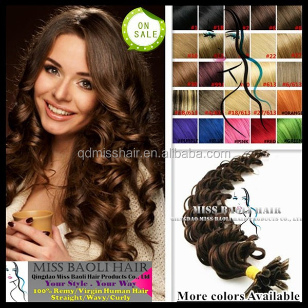 2017 Best Selling 100% Remy Human Hair Keratin Pre Bonded I Tip Curly Hair Extensions
