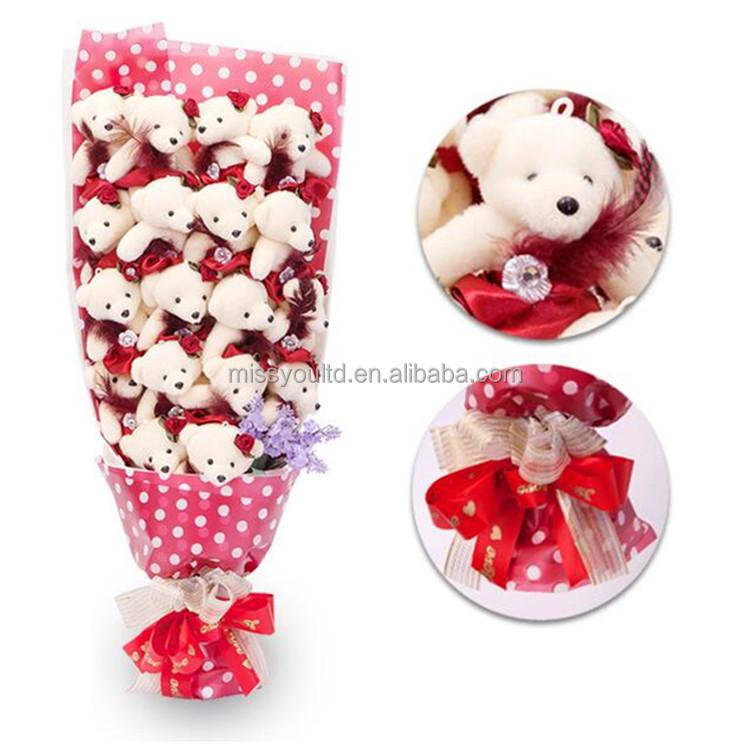 Valentine's Day Gift Stuffed Teddy Bear Bouquet Fashion Cute Pink Soft Toys