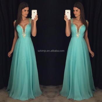 7aae10d23 Sin mangas Suzhou baile vestido con pedrería 2017 profundo cuello en V azul  turquesa vestido de