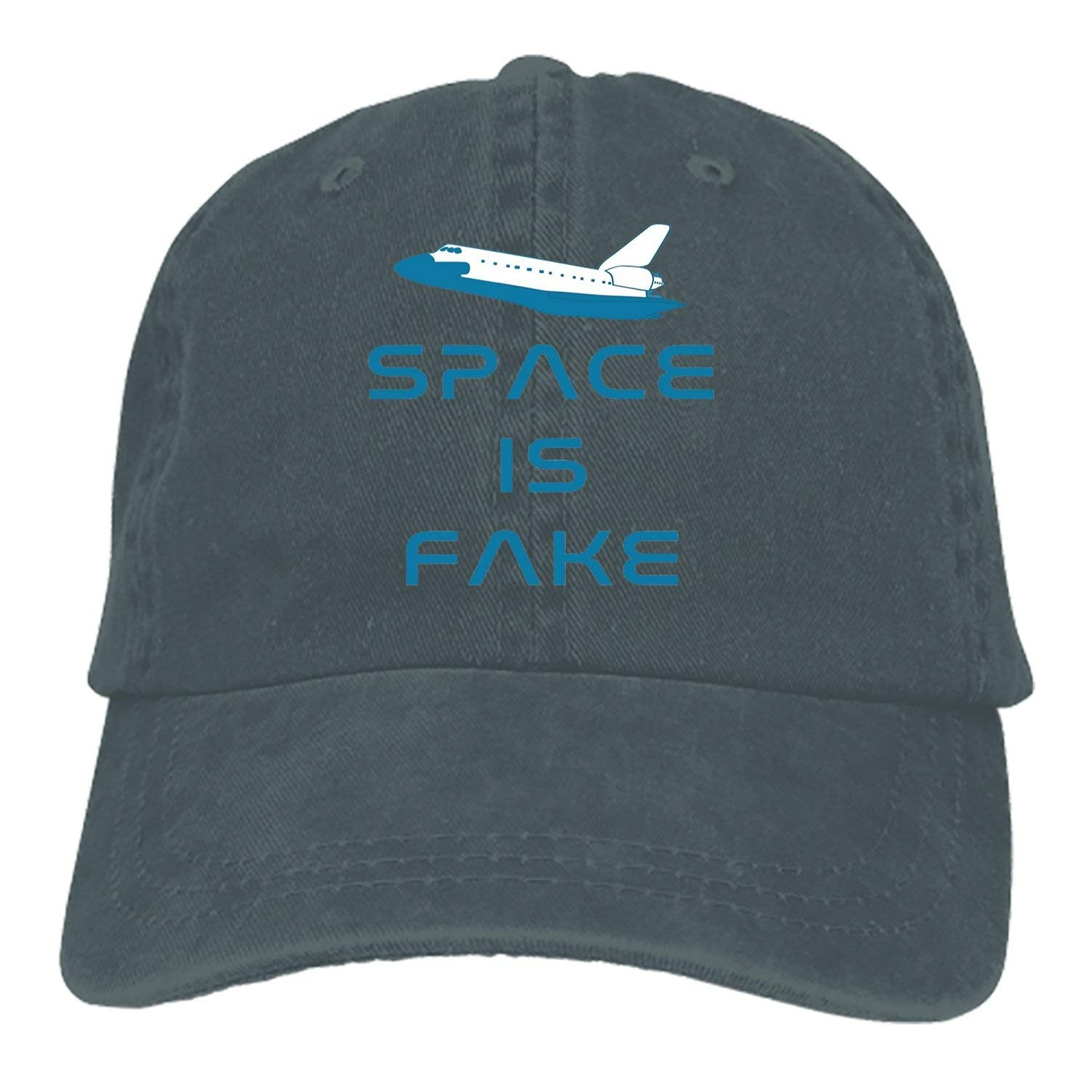 02b4450e3ed Get Quotations · Custom Space is Fake Classic Cotton Adjustable Baseball Cap