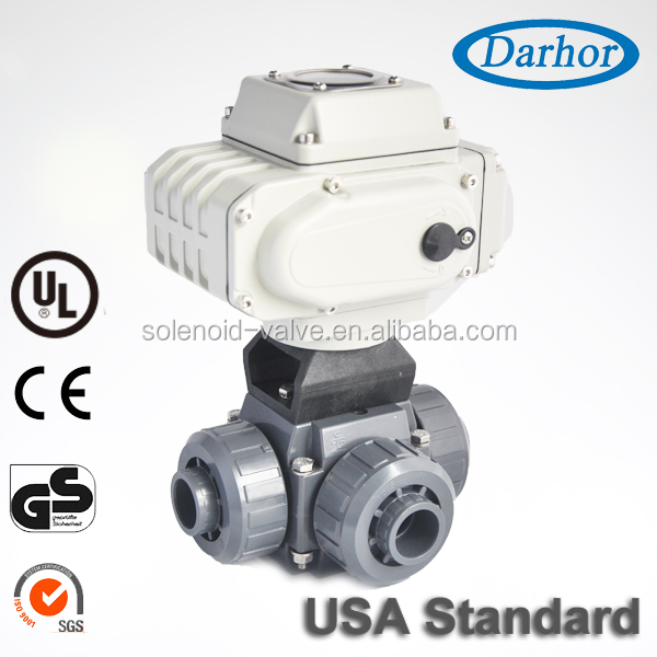 Double union plastic chemical resistant PVC 3 way electric ball valve with actuator