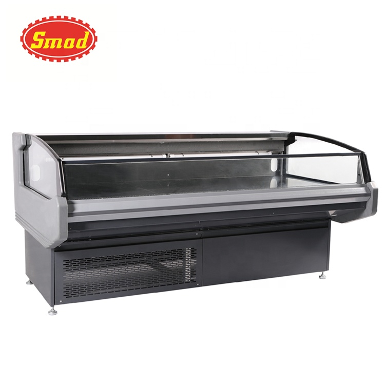Curved opening butcher meat display chiller fridge refrigerator
