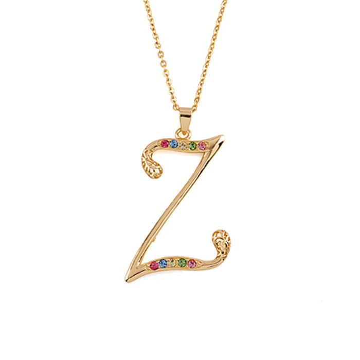 30537 New Design 18k Gold Chain Z Alphabet Pendant