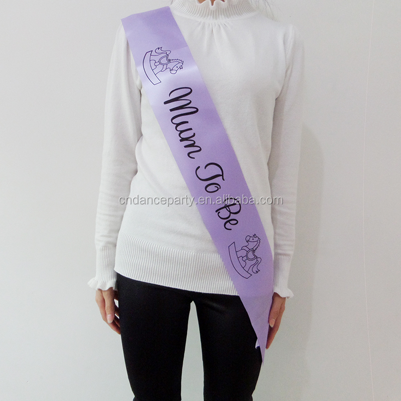 Purple mum to be sash baby shower supplies