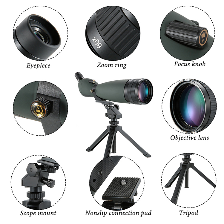 With Tripod 30-90X90 Telescope Angled Waterproof Spotting Scope Outdoor Hiking Bird Watching Portable HD Monocular