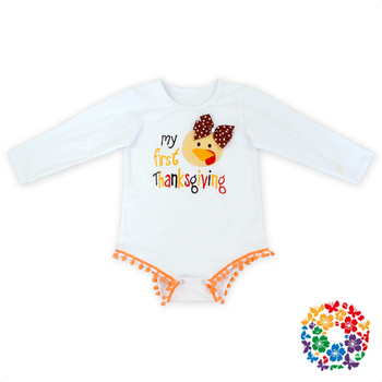377158d87 Cute Newborn Baby Turkey Embroidery Romper Clothes Baby Girls Long ...