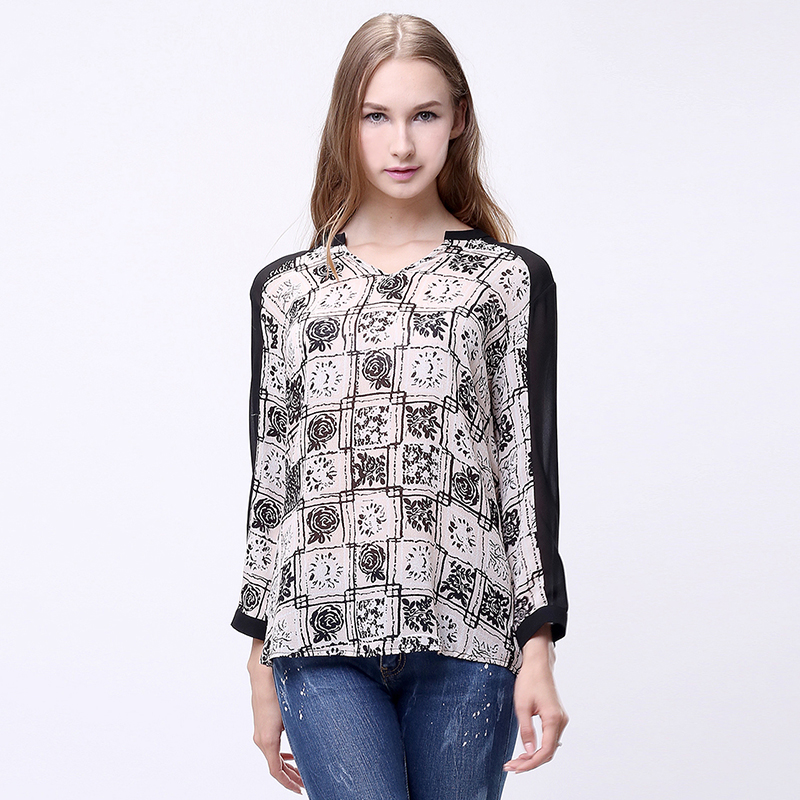 Fashion autumn women's chiffon shirt print long-sleeve chiffon top half-open neck loose waist female button on shoulder pullover