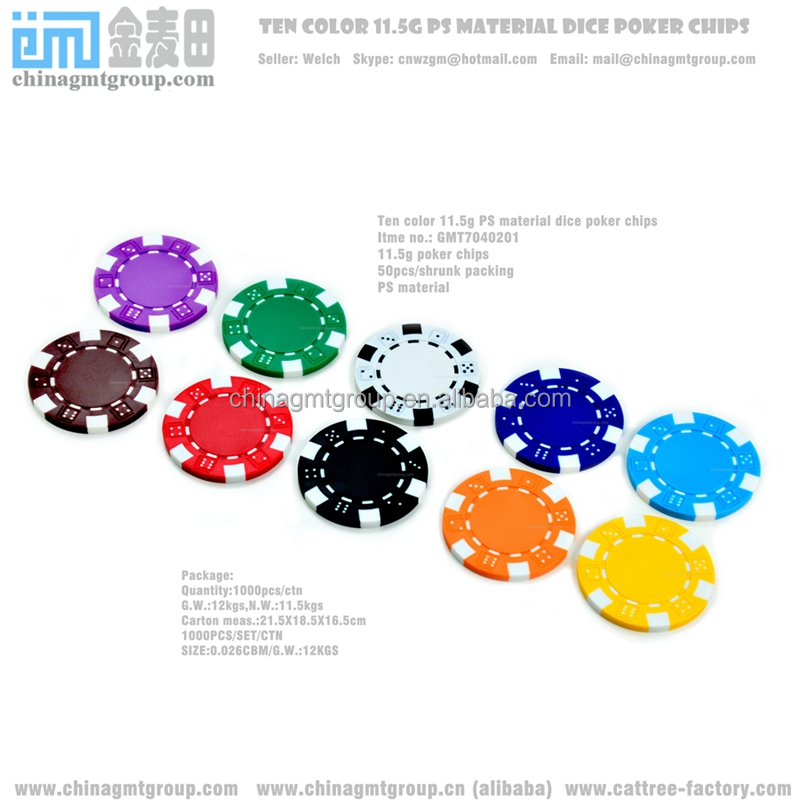 10 Colors Striped Dice 11.5g Clay Poker Chips Sample Set New