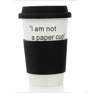 Zogift sublimation custom double walled ceramic tumbler porcelain take away coffee cups travel mug with silicone lid