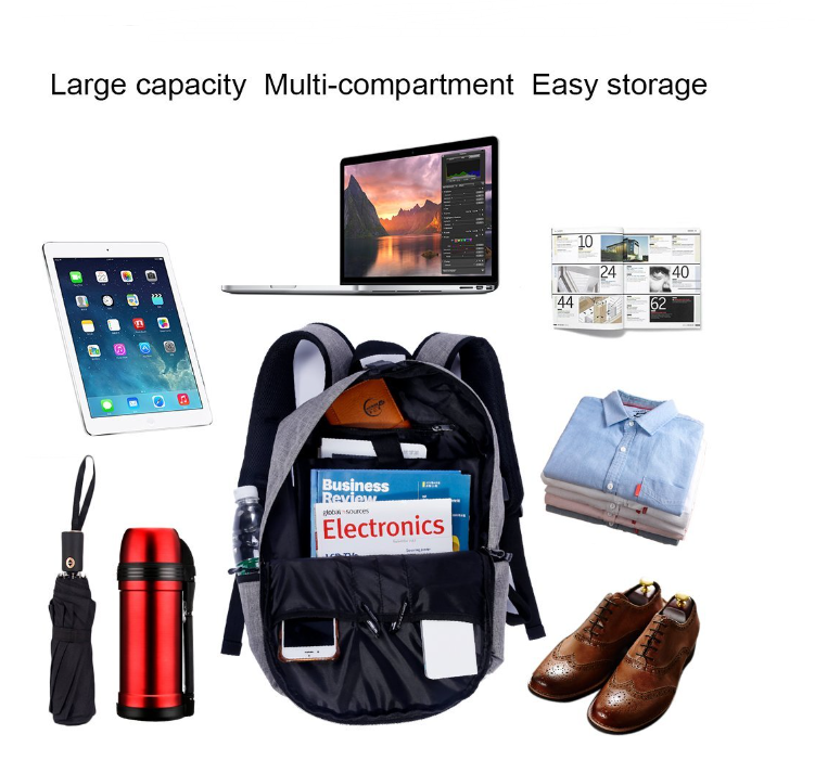 Sport Backpack Canvas Laptop Bag With Usb Charger