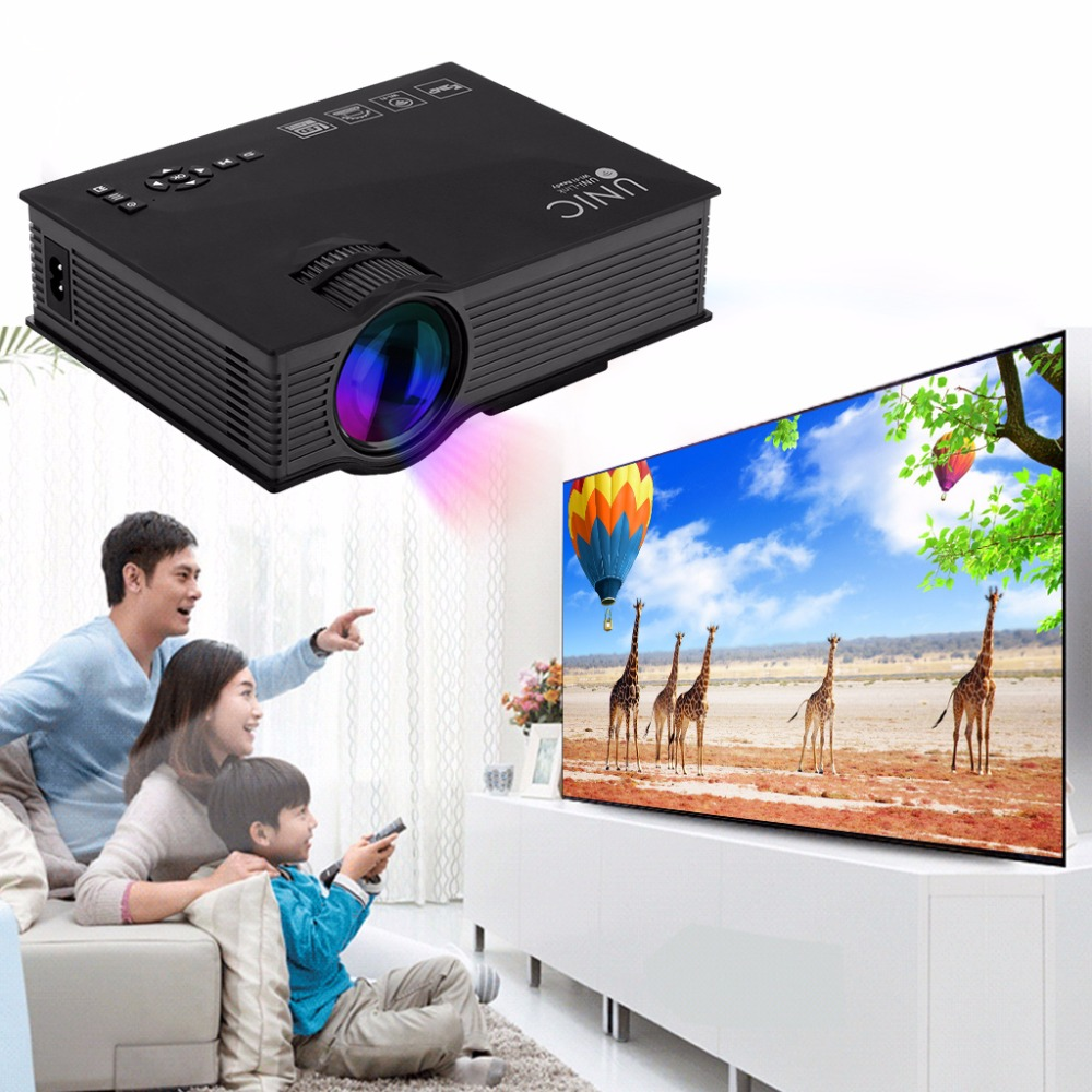 UNIC UC46+ Newest 1200Lumens 2.4G WIFI Mini Projector UC46 Upgrade HDMI AV USB SD IR Portable Home Theater Beamer Multimedia