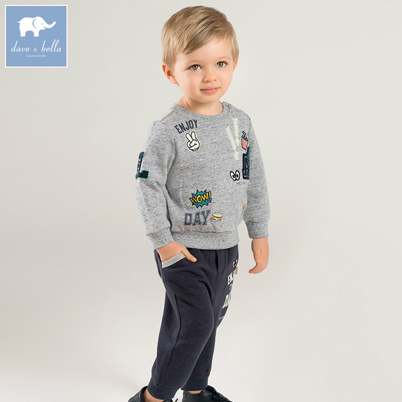 DB8440 dave bella herfst baby jongens kleding baby peuter kleding sets kids peuter outfits kinderen hight kwaliteit suits