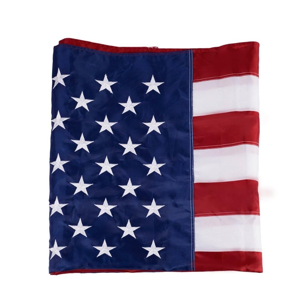 Cheap custom 3x5 ft polyester or nylon USA American embroidered national flag