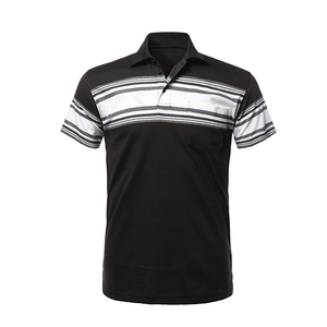 New design soft Short Sleeve t shirt custom tag 60% cotton 40% polyester polo shirts white black striped tshirts