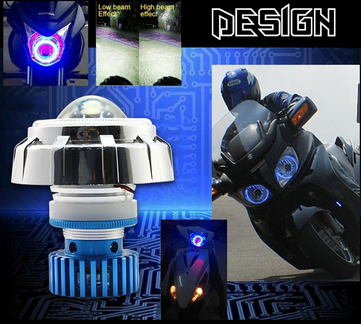 Super bright 2016 NEW Motorcycle projector LED headlight Angel Devil EYES c.ree led motorcycle motorbrike headlight