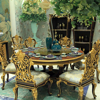 Bisini Royal Italian Black And Gold Dining Set Luxury Handcarved Solid Wood Furniture