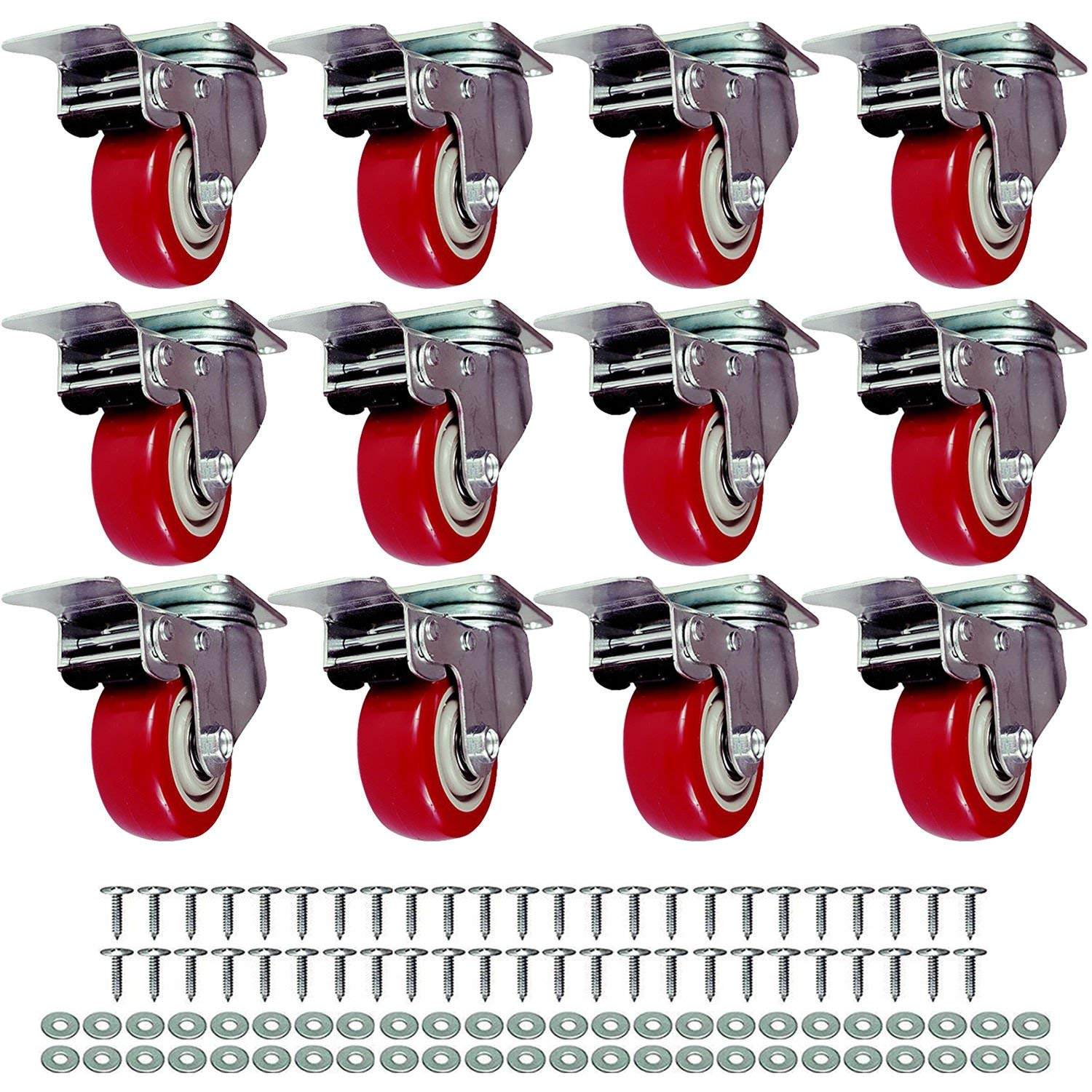 """FactorDuty 12 Pack Caster wheels Swivel Plate On Red Polyurethane wheels w/Screws (4"""" with Brake)"""