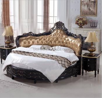 Luxury Black Wooden Round Bed, Royal Black Round Bed