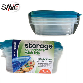 Umweltfreundliche PP Flache Quadratische Lebensmittel Einweg Vorratsbehälter  3PK Kunststoff Aufbewahrungsbox