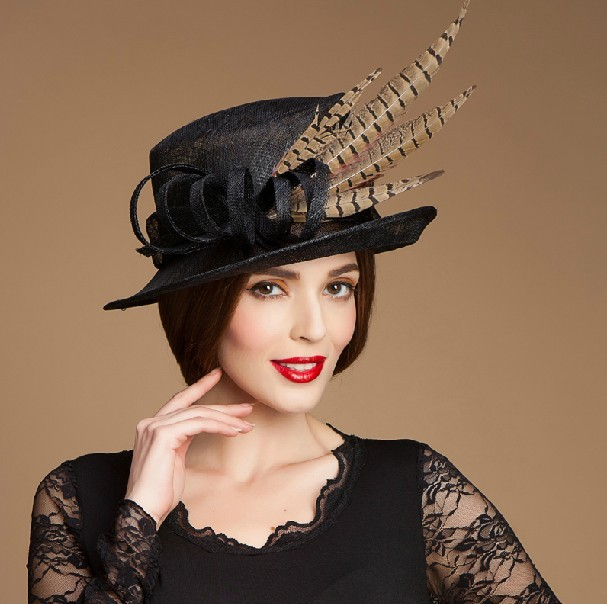 China factory party hat ladies designer black ladies church hats for sale beb7bafe5d3f