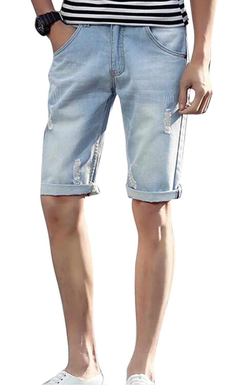 08eb550417 Get Quotations · LD Mens Summer Jean Shorts Slim Fit Ripped Straight Denim  Shorts
