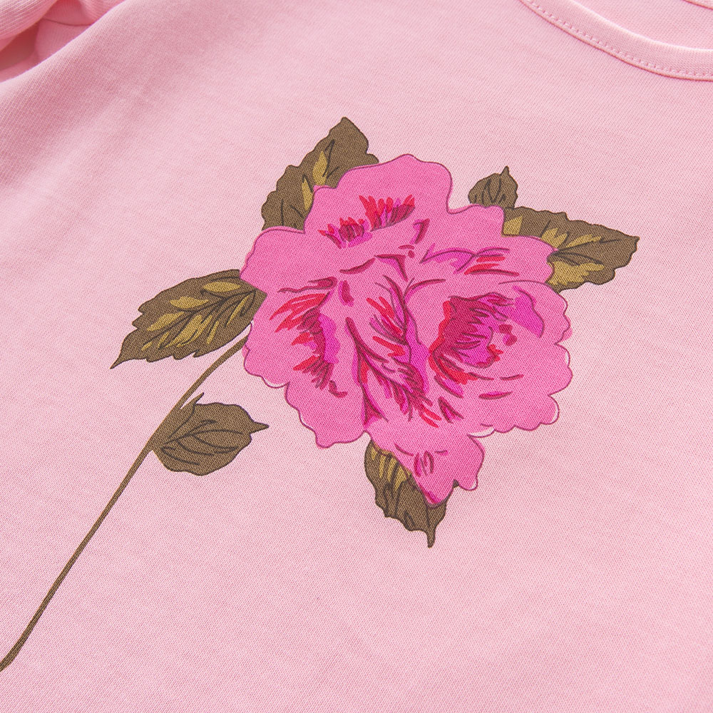 DB5668 dave bella autumn baby girls rose printed lpink t-shirt baby cute top children high quality tees