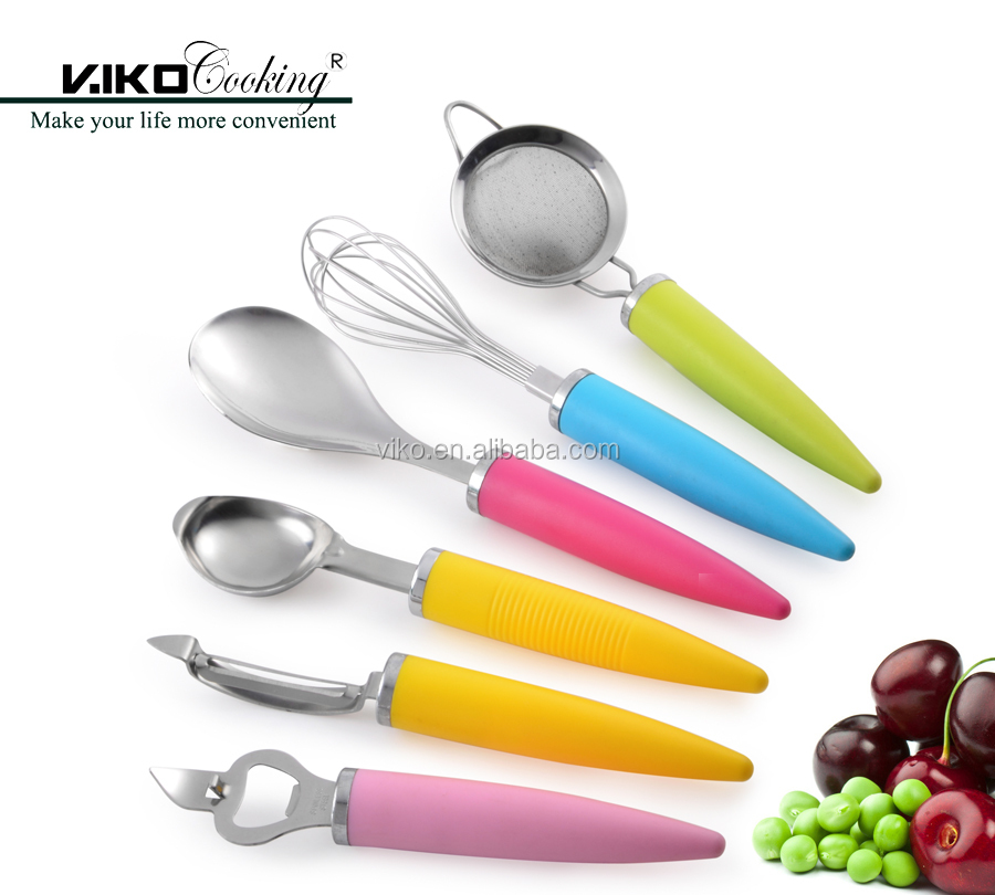 6pcs colorful kitchen gadget tools set stainless steel tools set with PP handle