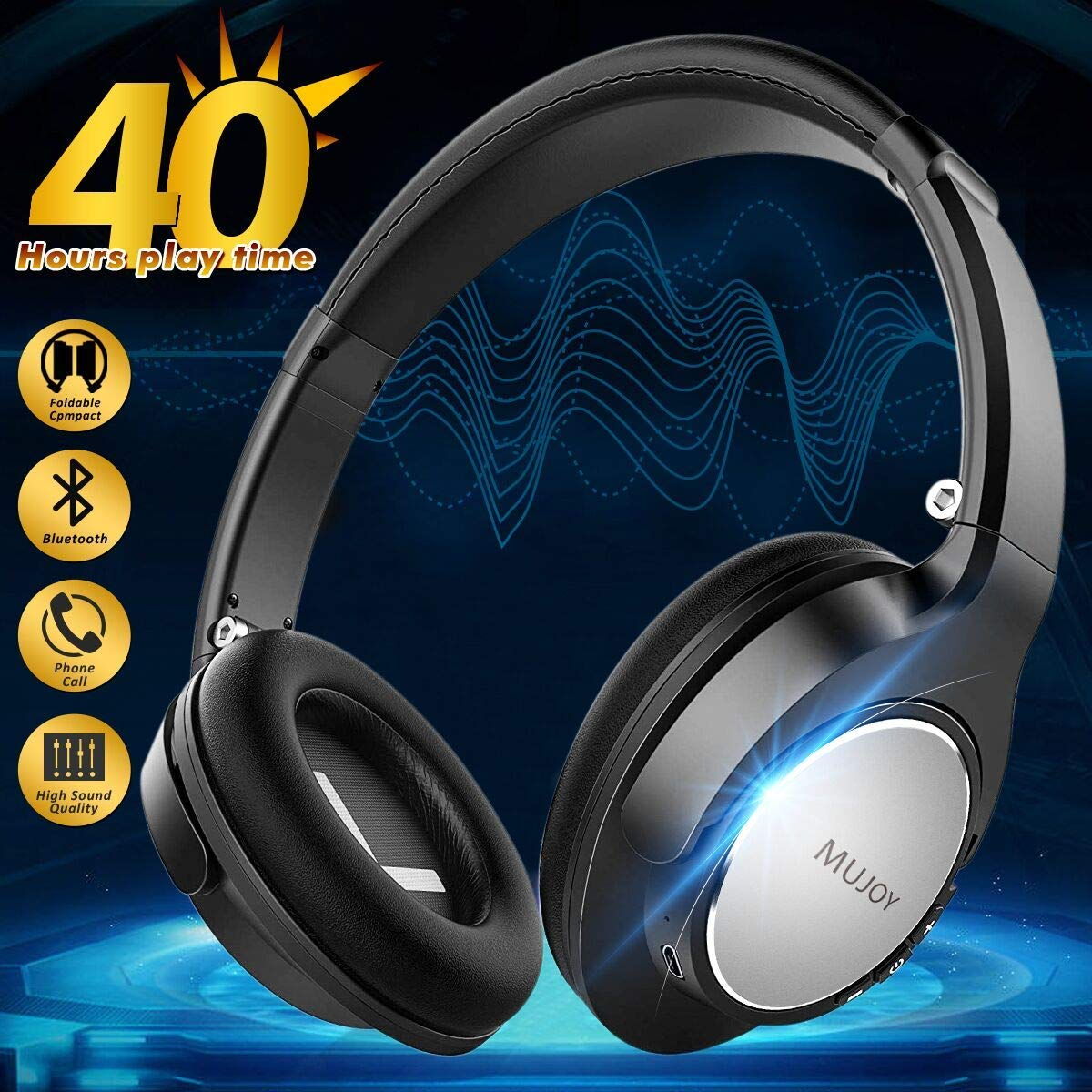 9798afa14a6 Get Quotations · Over Ear Wireless Bluetooth Headphones with Mic, Foldable  Hi-Fi Stereo Headphones On Ear