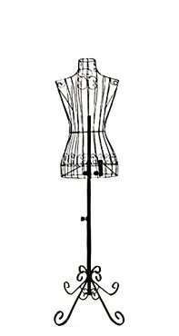 XY2302B-TY Antique Metal Base - Adjustable Height Wire Frame Dress Form Display Stand Female Metal Wire Dress Form Black
