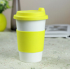 Haonai white ceramic coffee cup silicone take away lid & sleeve double walled cup