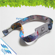 custom logo and brand print on rfid pvc card china wristband with alu ring disposable
