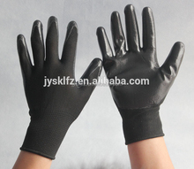 cheap black Nylon knitted work gloves coated with nitrile palm